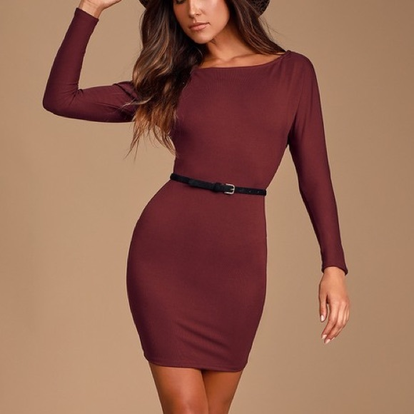 Lulu's Dresses & Skirts - Lulus maroon long sleeve body con dress